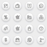 Commerce icons with white buttons on gray backgrou Stock Photo