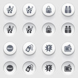 Commerce icons on white buttons. Set 1. Royalty Free Stock Photography