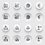 Commerce icons on white buttons. Set 2. Stock Images