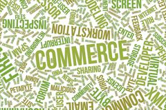 Commerce, conceptual word cloud for business, information technology or IT. Commerce, IT, information technology conceptual word cloud for for design wallpaper Stock Images
