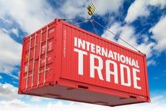 Commerce international sur le récipient rouge photographie stock