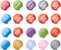 Commerce labels. Vector badges for commerce: super offer, discount, off percentages, new and free. Plus blank badges in various colors Stock Images