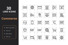 30 Commerce Line Icons. High quality commerce line icons. Icons for user interfaces and web Stock Photos