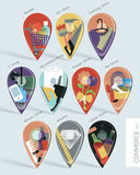 Commerce map pins set Royalty Free Stock Photography