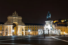 Commerce night. View on the gate on the Commerce square (Praca do Comercio) and the statue of King Jose at night in Lisbon, Portugal Stock Photos