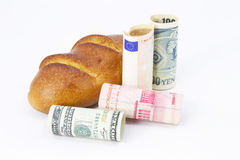 Commerce partagé : Dollar, yuan, euro, et Yens Photographie stock libre de droits