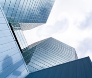 The Commerce Place buildings in Hamilton, Ontario, Canada. Two Skyscrapers reflecting clouds and sky in the glass fronts. The Commerce Place buildings in Stock Photo