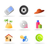 Commerce products icons. Vector illustration as icons of main type of goods, use as category icons for on line web stores and e commerce sites, to represent Stock Photography