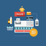 Commerce and retail flat illustration Vector Illustration