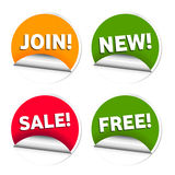 Commerce sale stickers. Illustration of shopping sales stickers and web community tools stickers Royalty Free Stock Photo