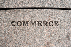 Commerce sign. Etched in granite Stock Photo