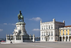 Commerce Square. Commonly known as Terreiro do Paço (Palace Square), is located near the Tagus River in the city of Lisbon stock image