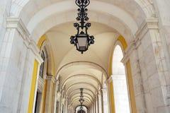 Commerce square arcade, Lisbon, Portugal Stock Image