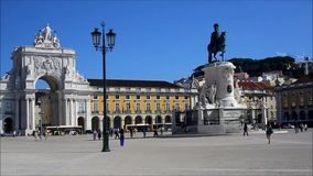 Commerce Square. The Commerce Square, commonly known as Palace Square, with the statue of King Jose I and the triumphal Arch of Augusta Street stock video footage