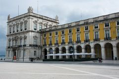 Commerce Square in downtown Lisbon. Baixa stock photos