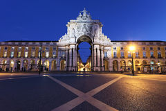 Commerce square at Lisbon by night. Arch at commerce square at Lisbon by night Royalty Free Stock Photo