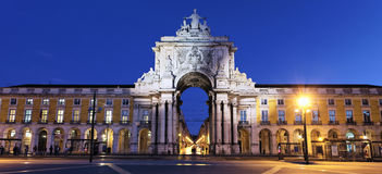 Commerce square at Lisbon by night. Arch at commerce square at Lisbon by night Royalty Free Stock Image