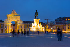 Commerce Square in Lisbon at night. Commerce Square in Lisbon at a summer night Stock Image