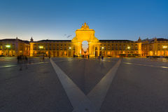 Commerce Square in Lisbon at night. View of Commerce Square in Lisbon at a summer night Royalty Free Stock Image