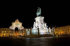 Commerce Square In Lisbon, Portugal. Night view of Commerce Square In Lisbon, Portugal Stock Photos