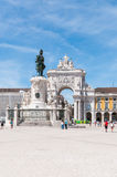 Commerce Square in Lisbon, Portugal. LISBON, PORTUGAL - AUGUST 23: Statue of King Jose I and Rue Augusta Arch on Commerce Square on 23 August, 2014 in Lisbon Stock Image