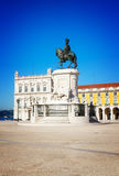 Commerce square in Lisbon, Portugal. Commerce square details - Praca do Comercio - at sunny day, Lisbon, Portugal, retro toned Stock Photography
