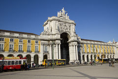 Commerce Square in Lisbon, Portugal, Jan 2012 Royalty Free Stock Photo