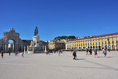 Commerce Square in Lisbon, Portugal. LISBON Portugal - JUNE 11, 2017 : Praca do Comercio Commerce Square, Rua Augusta Arch and  equestrian statue of King Jose I Royalty Free Stock Images