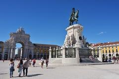 Commerce Square in Lisbon, Portugal. LISBON Portugal - JUNE 11, 2017 : Praca do Comercio Commerce Square, Rua Augusta Arch and  equestrian statue of King Jose I Stock Image