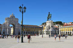 Commerce Square in Lisbon, Portugal. Lisbon, Portugal - June 11, 2017 : Praca do Comercio Commerce Square, Rua Augusta Arch and  equestrian statue of King Jose I Royalty Free Stock Photos