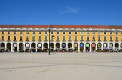 Commerce Square in Lisbon, Portugal. Lisbon, Portugal - June 11, 2017 : Praca do Comercio Commerce Square and shopping arcade. Main public square in Lisbon shown Royalty Free Stock Image