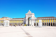 Commerce square in Lisbon Portugal. Commerce square, one of the most important landmarks of Lisbon, with the famous Triumphal Arch in  Portugal Stock Photography