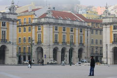 The Commerce Square in Lisbon, Portugal. The Praça do Comércio is located in the city of Lisbon, Portugal. Situated near the Tagus river Royalty Free Stock Image