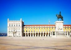Commerce square  in Lisbon, Portugal. Commerce square - Praca do Comercio - at sunny day, Lisbon, Portugal, retro toned Stock Photography
