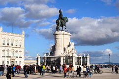 Commerce Square Lisbon or Praça do Comércio Lisboa. A vast waterfront square, where the royal palace stood until the 1755 Great Earthquake. The Triumphal Arch Royalty Free Stock Photo