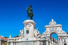 Commerce Square in Lisbon. Praca do Comercio & x28;Commerce Square& x29; and statue of King Jose I in Lisbon, Portugal in a beautiful summer day royalty free stock photo