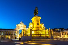 Commerce Square in Lisbon. Praca do Comercio & x28;Commerce Square& x29; and statue of King Jose I in Lisbon, Portugal in a beautiful summer night royalty free stock photography