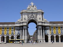 Commerce square Lisbon, Praca do Comercio. The commerce square in Lisbon from its central point Stock Photography