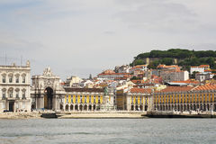 Commerce Square in Lisbon. Seen from theTagus River, Portugal Royalty Free Stock Images
