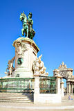 Commerce square in Lisbon. Statue of king Jose on the Commerce square in Lisbon, Portugal Stock Images