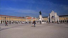 Commerce Square in Lisbon stock video footage