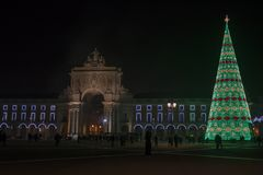 Commerce Square at night in Lisbon with Christmas tree royalty free stock photography