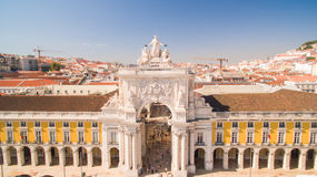 Commerce Square Praca de comercio Lisbon aerial view, 2 september 2016 Royalty Free Stock Images
