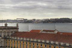 Commerce Square and Tagus River view from Augusta Arch.  Royalty Free Stock Photos