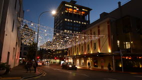 Commerce Street in Auckland Downtown at night stock footage