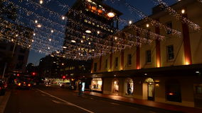 Commerce Street in Auckland Downtown at night stock video