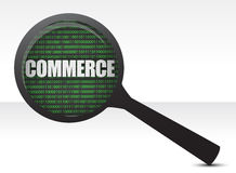 Commerce under a magnify glass Royalty Free Stock Photography