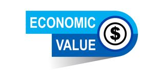 Economic value banner. Commerce web banner icon on isolated white background - vector eps illustration Stock Image