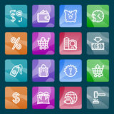 Commerce white icons on color buttons. Stock Image