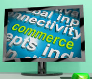 Commerce Word Cloud Screen Shows Commercial Activities Royalty Free Stock Photo